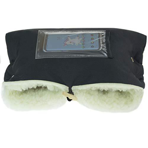 Handwärmer für Kinderwagen Handmuff Muff mit Fleece Innenseite für Herbst und Winter Lammwolle BLACK [073]