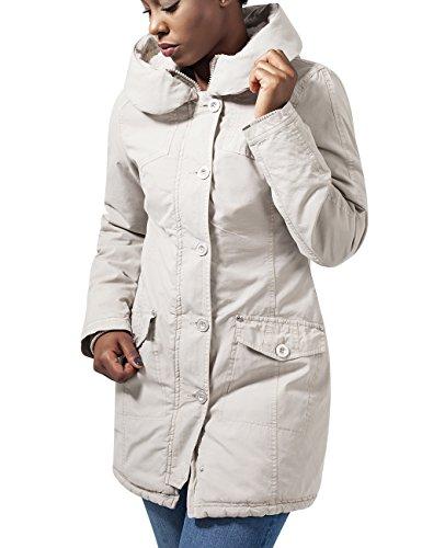 Urban Classics Damen Ladies Garment Washed Long Parka Jacke, Elfenbein (sand 208), 36 (Herstellergröße: S)
