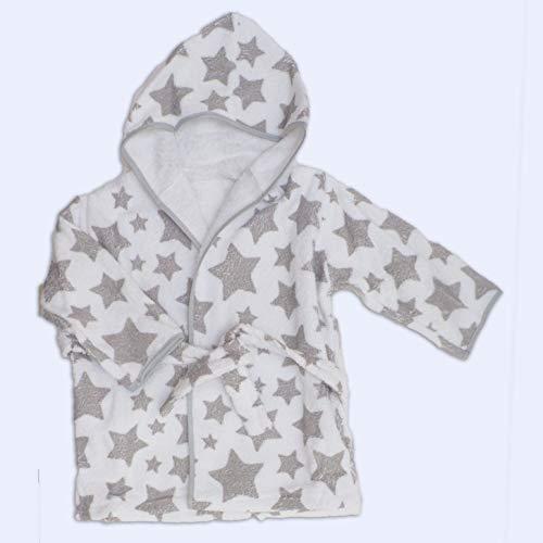 Ti-tin Kinderbademantel | Babybademantel aus weicher Baumwolle (Frottee-Stoff), superabsorbierend und bequem, Bademantel mit grauem Sterndruck, Größe 2 Jahre, 340g/m²