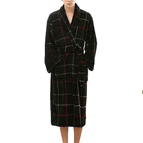 YUHUALI Mode Plaid Bademantel Männer Winter Bademantel Herren Kimono Nachtwäsche Startseite Nachthemd Pyjamas Robe Schwarz XXL
