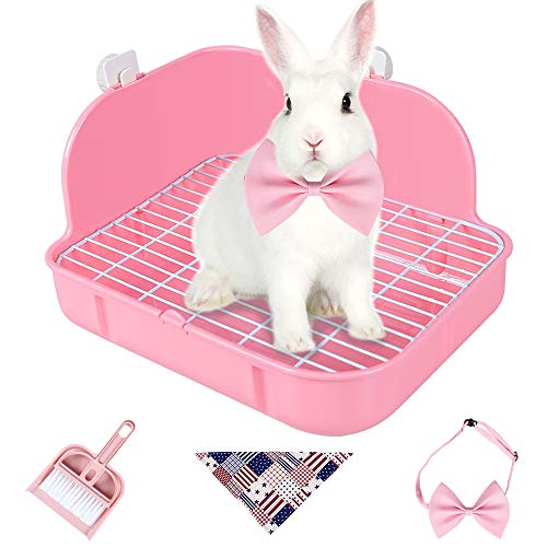 Humorous.P Rabbit Litter Box Corner - Rabbit Supplies Litter Pan Cage Potty Trainer Ideal for Small Animal, Rabbit, Guinea Pig, Ferrets Rectangular Plastic Material