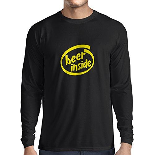 Langarm Herren t Shirts Bier innen - für Bierliebhaber, lustiges Logo, humorvolles Geschenk, Kneipe, Bar, Party-Kleidung (XXX-Large Schwarz Gelb)