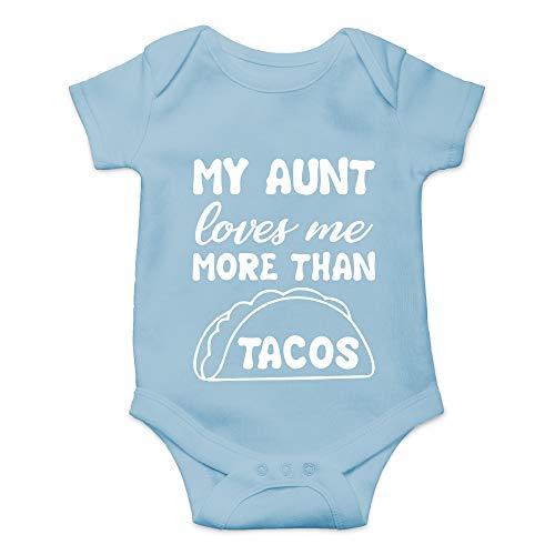 CBTwear My Aunt Loves Me More Than Tacos - Aunite Loves Taco - Cute Infant One-Piece Baby Bodysuit (Newborn, Light Blue)