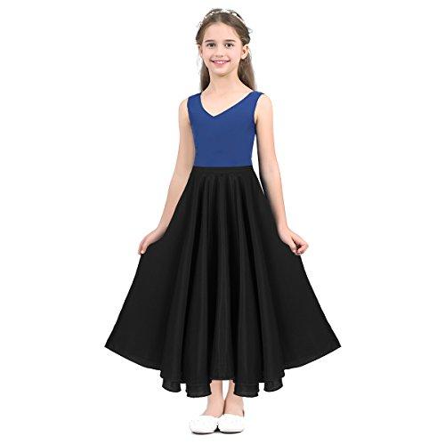 IEFIEL Falda Larga para Niña Danza Flamenco sevillanas Disfraz de Tango Baile Vals para Niñas Chicas 6-14 Años Negro 6 Años