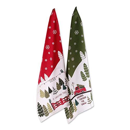 DII Cotton Christmas Holiday Decorative Dish Towels, 18x28, Set of 2-Christmas Tree Farm