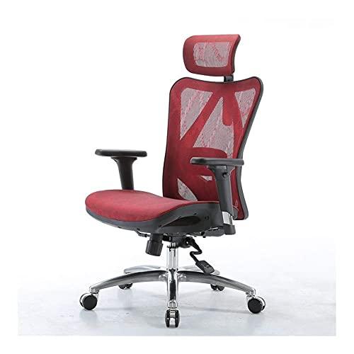 N&O Renovierung Hausstühle Schreibtisch Liege Ergonomisch Computer Notwendigkeiten Verwaltungsbüro Komfort Elektronisch Sportwirbel Mesh+Aluminiumlegierung Fuß Rot