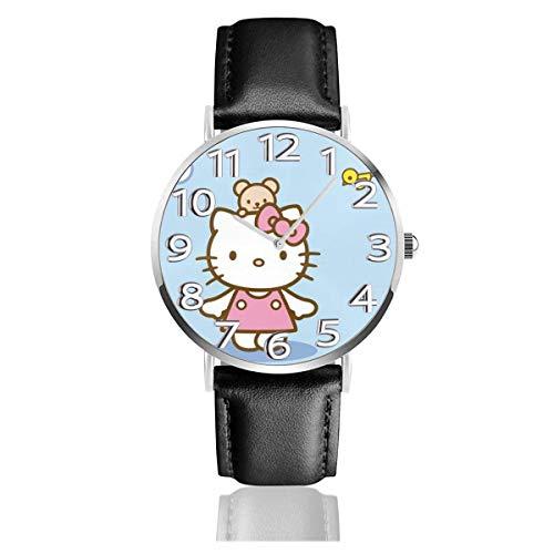 Los niños Miran Reloj Pulsera niño Historieta 3D Impermeable He_ll-o Gato Azul Pantalla Redonda 38mm Batería de botón Poder