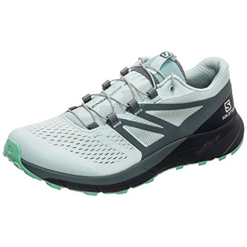 Salomon Women's Sense Ride 2 Trail Running Shoes, Icy Morn/Navy Blazer/Electric Green, 6.5