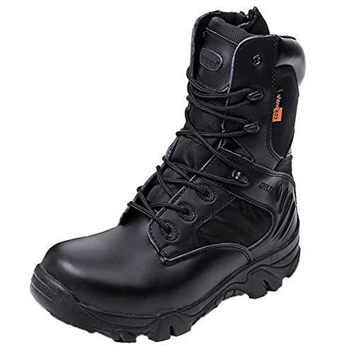 MERRYHE Bottes de Combat dans Le désert pour Hommes, Bottes Militaires décontractées, Chaussures d'escalade de Sports de Plein air, Bottillons à Lacets avec Fermeture à glissière pour Hommes,Black-45