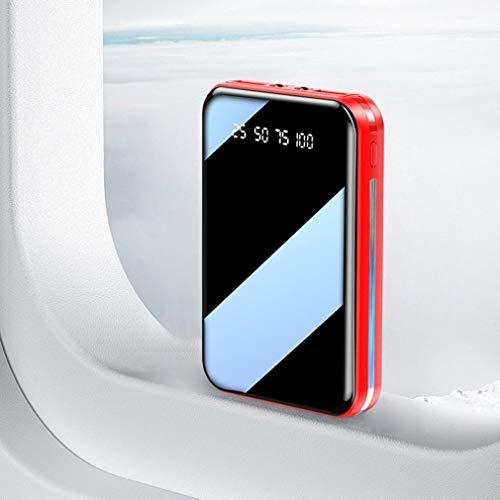 Mini Power Bank 20000mAh Batería de Carga portátil Teléfono móvil Cargador de batería Externo para teléfono Carga rápida Banco de energía de Ultra Alta Capacidad para iPhone,Samsung, etc. (Red)