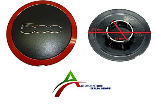Radkappe, Radkappe, schwarz, rot, mit Logo für Alufelgen, kompatibel mit Made in Italy