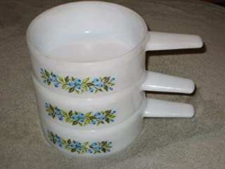 SET OF 3 - Jeanette Milk Glass BLUE BERRY PATTERN 14 oz. Handled Soup Crock Open Casserole Dishes J-2639