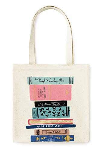 Kate Spade New York Canvas Book Tote with Interior Pocket, Stack of Classics