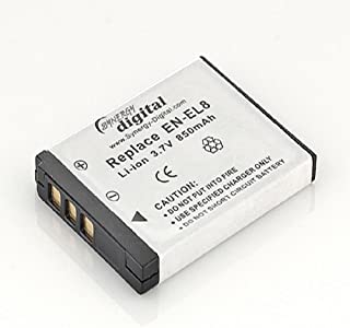 EN-EL8 Lithium-Ion Battery - Rechargeable Ultra High Capacity (850 mAh) - replacement for Nikon EN-EL8 Battery for Coolpix S1 & S2 and for Kodak KLIC-7000