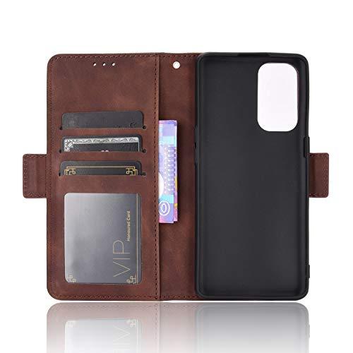 MingMing Lederhülle für Oppo Find X3 Neo Hülle, Flip Hülle Schutzhülle Handy mit Kartenfach Stand & Magnet Funktion als Brieftasche, Cover für Oppo Find X3 Neo, Brown
