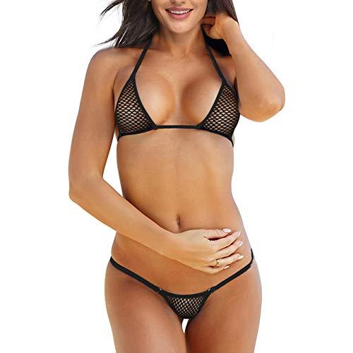 SHERRYLO Micro Bikini Mini Triangle Trop G String Tanga Bottom - Schwarz - Medium