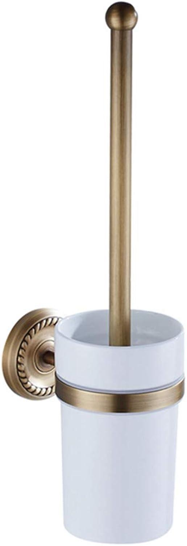 LUDSUY Bathroom Accessories Continental Bathroom Bathroom Metal Pendant Antique Brass Cup Ceramic Toilet Suite Toilet Brush Holder