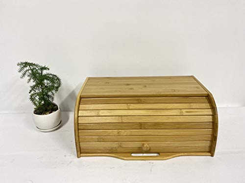 Wood Bread Boxes Bamboo Large ; Roll Top Bread Boxes for Kitchen counter wood; bread bin storage container; bread boxes for kitchen counter airtight; bread bin organizer, Assembly required.