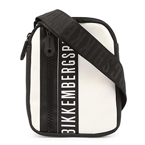 Bikkembergs Tracolla da Uomo tessuto gommato Mini crossbody bag con cerniera Bianco Nero. Borsa da uomo casual. Collezione 2021