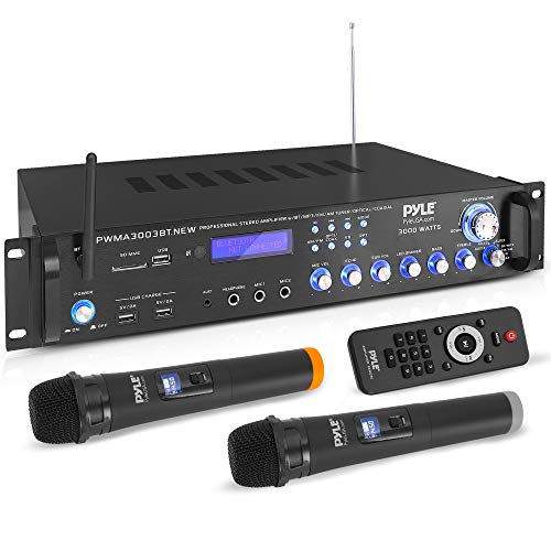 Bluetooth Home Audio Power Amplifier -4 Ch. 3000W, Stereo Receiver w/ Speaker Selector, FM Radio, USB, Headphone, 2 Wireless Mics for Karaoke, Great for Home Entertainment System - Pyle PWMA3003BT.NEW