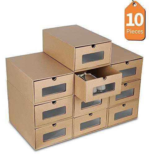 LENTIA Schuhkartons schuhbox transparent 10X Aufbewahrungsbox aus Kraftpapier Schuhbox Schuhschachtel Allzweckbox für Männer und Frauen Starke Pappkarton Schublade mit transparenten PET-Platte