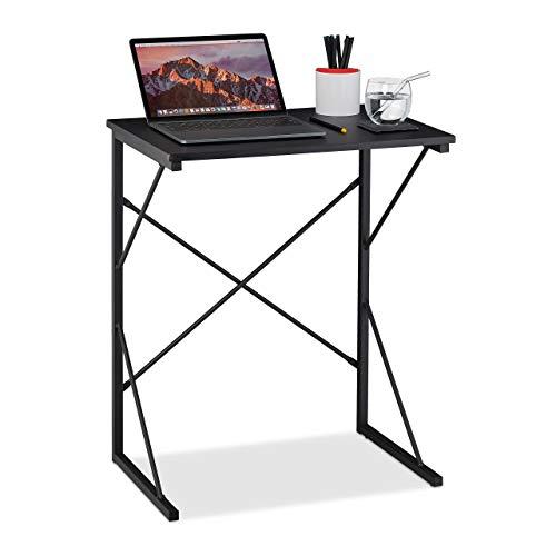 Relaxdays Schreibtisch klein, HxBxT 75 x 60 x 40 cm, kompakter Computertisch, Laptop Arbeitstisch, MDF & Metall, schwarz