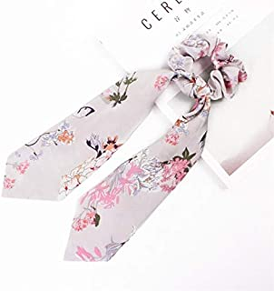 Hair band New Ponytail Holder Floral Hair Scrunchies Print Bow Satin Stripe Ribbon Scarf Tie Hair Bands Accessories MJZCUICAN (Color : Gray, Size : Free)