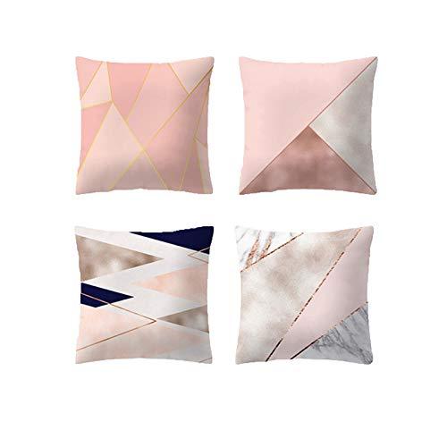 JUNGEN 4 pcs Funda de cojín del Serie Rosa con Impresión geométrica Funda de Almohada Cuadrado Funda de cojín Moderna Caso de Almohada para Decoracion de sofá Coche Salon 45x45cm (Rosa 5)