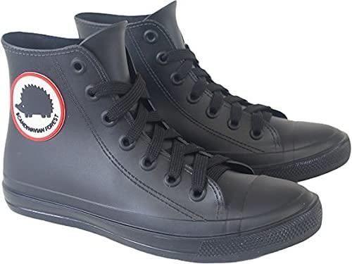 スカンジナビアンフォレスト レインブーツ レインシューズ レディース ミドル ハイ HI カット 長靴 レースアップ ひも スニーカーデザイン 防水 雪 靴 dykmsc8001(ブラック M(23.0〜23.5cm))