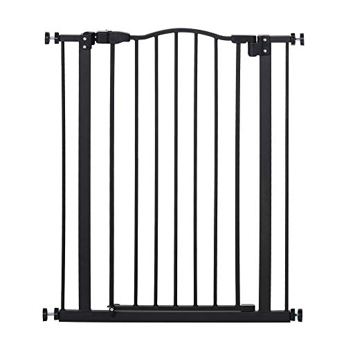 PawHut 74-84cm Adjustable Metal Pet Safety Gate Stairs Barrier Auto Close Door Double Locking 94cm Extra Tall Black