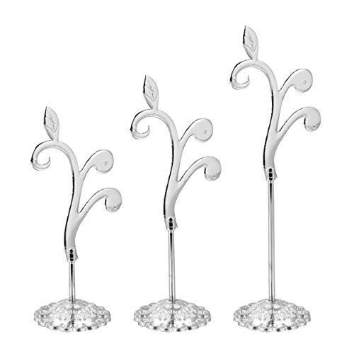 Cabilock 1 Unidades 3 Piezas de Hierro Art Jewelry Rack de Almacenamiento Organizador Pendiente Soporte de joyería Soporte de exhibición de la joyería Diseño de Forma de Flor de Vid (Plata)