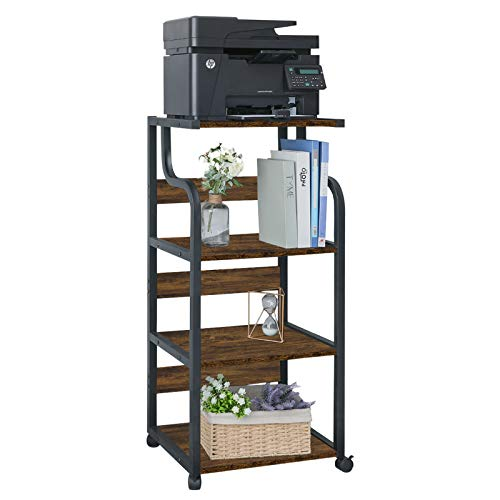 HOMFY 4-Tier Printer Stand with Storage Shelves, Large Printer Desk Cart Shelf with Wheels for Home, Office, Living Room and Kitchen (Brown)