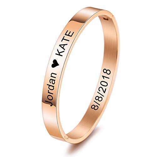 MeMeDIY Personalisierte Armband Gravur Name Identifizierung ID Angepasst für Frauen Mädchen Edelstahl Stulpearmband (Große Größen, Roségold Farbe)