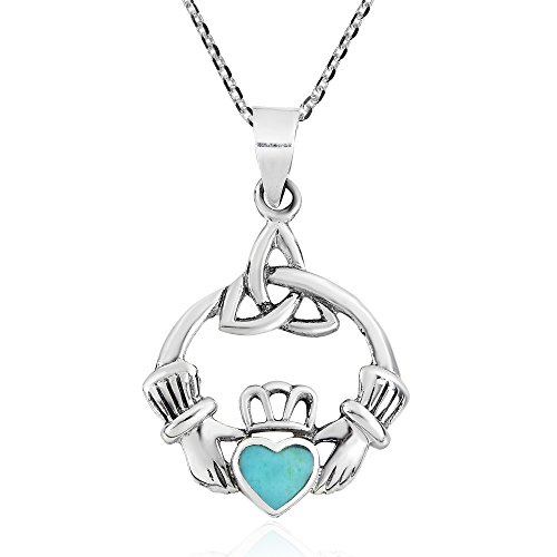 AeraVida Heart Simulated Turquoise Celtic Claddagh .925 Sterling Silver Pendant Necklace