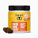 ivvi SKIN & COAT Omega 3 for Dogs Supplement (DHA) with DHAgold, Salmon Oil, Vitamin C & E, Biotin for Dogs – Itchy Skin & Itchy Dog Relief, Dog Allergy Relief, Soft & Shiny Fur - 60 Tasty Soft Chews