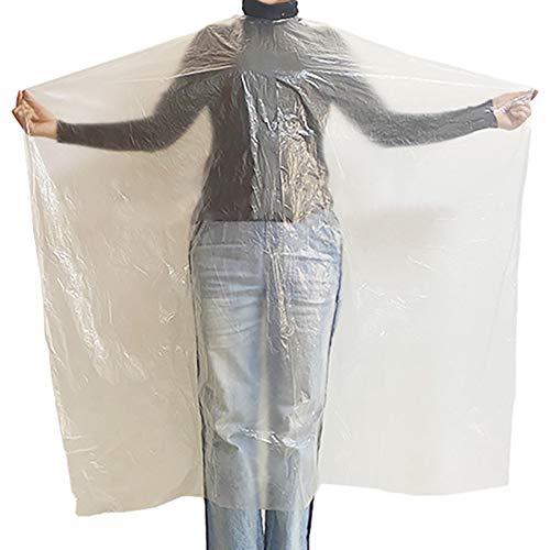 Hnmedia Lot de 50 capes de coiffure jetables en plastique transparent imperméable pour adulte et enfant 110 x 150 cm