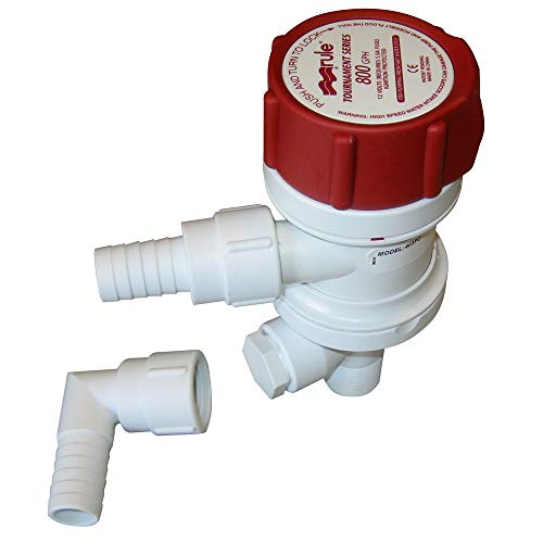 Rule 403FC Livewell / Baitwell Pump, Tournament Series, Removable Motor Cartridge, 800 GPH, 12 Volt,White/Red