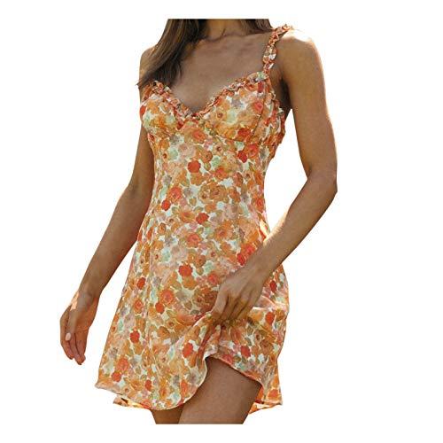 Women's Floral Dress A-line Short Dress Sling Clothing Sleeveless Dress Lady Backless Dress Sexy Retro Floral Print Casual Dress Summer V-Neck Dress Orange