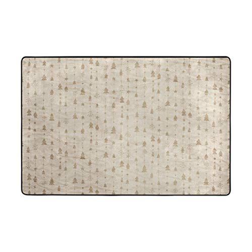 DEZIRO Fußmatte mit Weihnachtsbäumen, Falten Papierhintergrund, Polyester, Rutschfest, waschbar, Polyester, 1, 72 x 48 inch