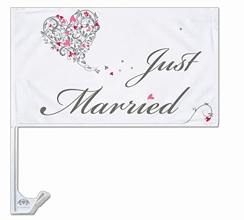 EinsSein 10x Autoflagge Autofahne Hochzeit Autodeko Fahne Just Married Dekoration Autobänder KFZ-Deko