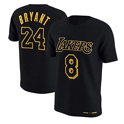 FANS LOVE Los Hombres De La Camiseta De La NBA L.A Lakers Kobe Bryant Manga Corta Retirado Conmemorativa del Ventilador Jersey Algodón # 8# 24 Baloncesto Deportes Chaleco Black #8-XL