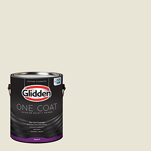 Glidden Interior Paint + Primer: White/Off White, One Coat, Eggshell, 1 Gallon Maine
