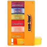 com-four® Dispenser per farmaci in Polacco - Scatola farmaci per 7 Giorni - 3 Scomparti - portapillole - Porta Tablet - Dispenser settimanale per la conservazione [Polacco] (Arancia)