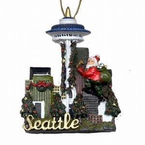 Seattle Christmas Ornament Skyline With Santa Poly