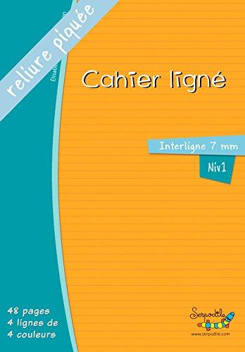 Grand cahier - lignes de couleurs - interligne 7mm - reliure piquée