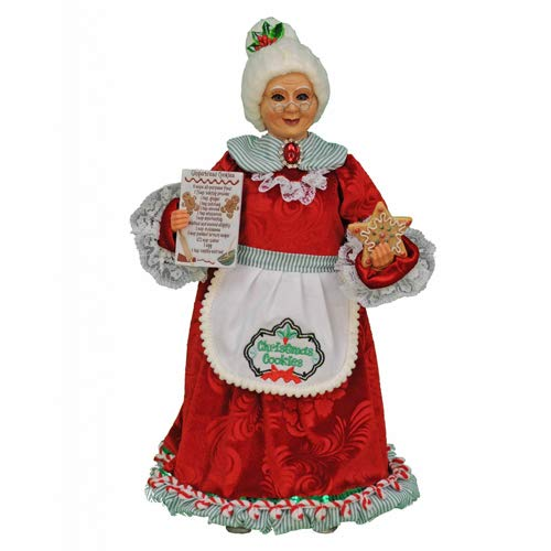 Karen Didion Originals Mrs. Kitchen Claus Figurine, 16 Inches - Handmade Christmas Holiday Home Decorations and Collectibles
