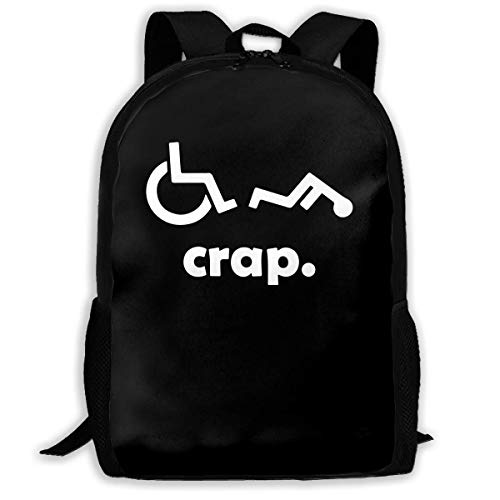 huatongxin Crap Handicap Divertido Silla de ruedas Hombre Mujer Mochila de moda Niño Mujer Moda Lienzo Impresión 3D Bolso de hombro informal Mochila