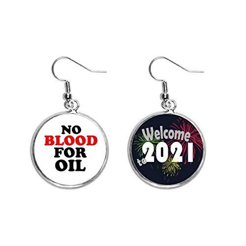 No for Oil Love and Peace World Ear Pendants Pendientes Joyería 2021 Bendición