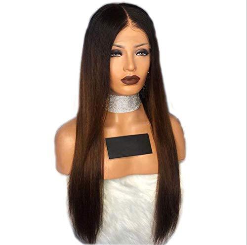 Femme perruque de dentelle avant noir brun long paragraphe forme naturelle haute température 180 degrés les cheveux tissés