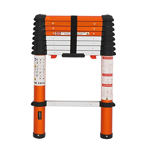Luisladders Telescoping Ladder Multi-Use Telescopic Extension Ladder One-Button Retraction Anti-Pinch and Anti-Slip 330 Lb Capacity (8.5 Feet)
